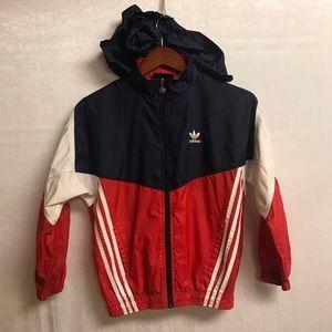 Adidas Boys Vintage Windbreaker hoodie-size 10